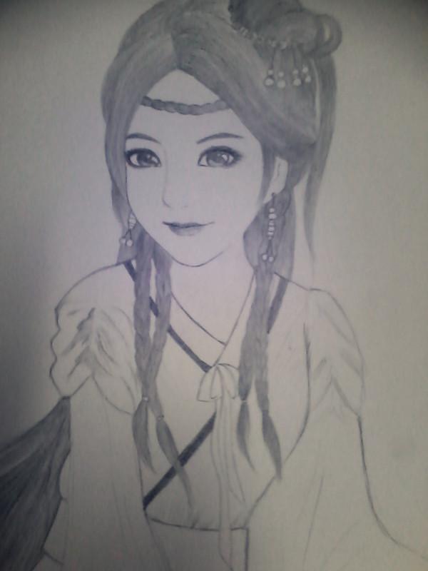铅笔手绘古装美女衣服