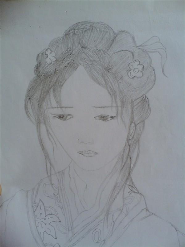 小学古装美女铅笔画