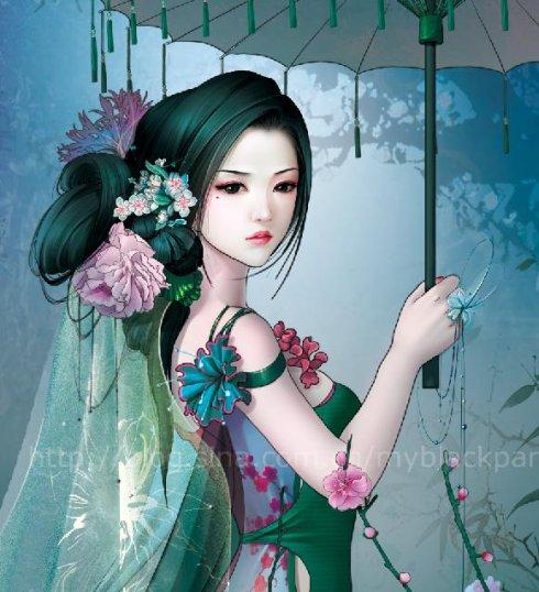 古装手绘丹青白裙